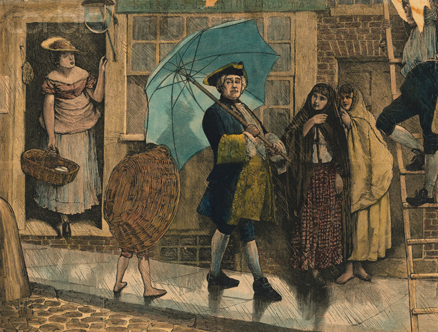 Jonas Hanway a passear com o seu guarda-chuva
